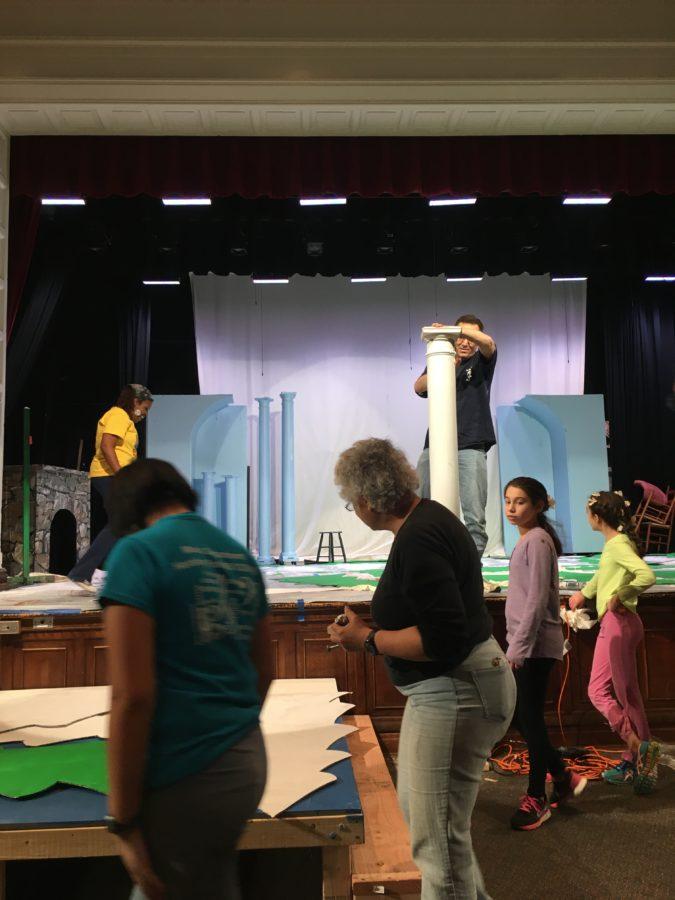 Students working on set design