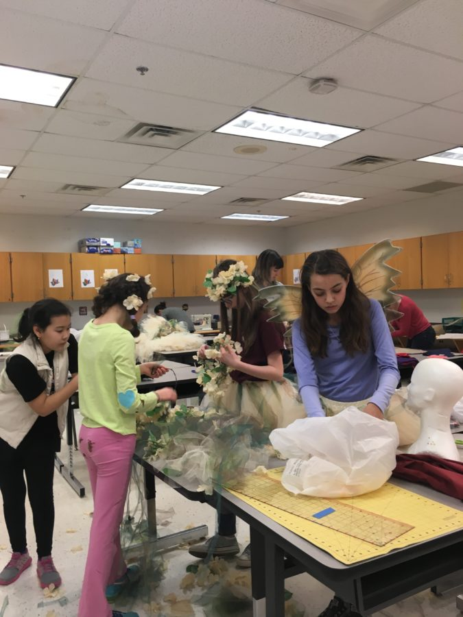 Students working on costume design