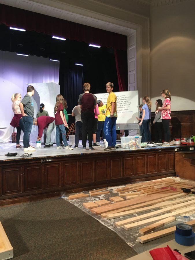 Stage team working on set design