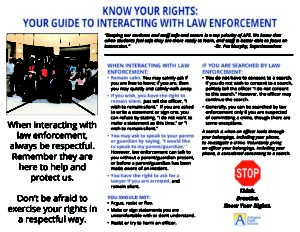 Know Your Rights - Interacting with Law Enforcement