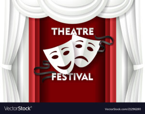 Theatre festival poster banner template. Vector paper cut theater decorations with comedy and tragedy theater masks.