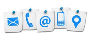 Emoji de correo electrónico, teléfono, twitter, celular y ubicación